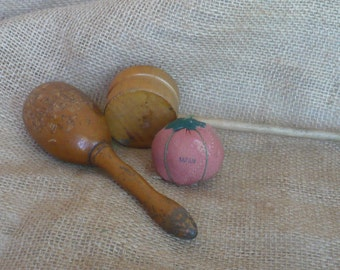 Vintage Sewing Supplies, Made in Japan Tomato Pincushion, Wood Darning Egg, No-Darn Chicago