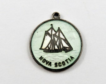 Enameled Nova Scotia with Two Sailboats Sterling Silver Charm or Pendant.