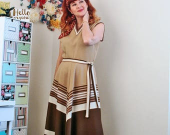 1970s Dress - Brown Striped Maxi Dress - Full A-line Flare Skirt - Chevron Stripe - Belted - Sporty Vintage Style - Size Medium