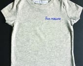 Kids gray t-shirt with custom embroidery / / hand embroidery / / back to school / / birthday boy / / custom