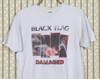 Black Flag vintage and rare T-shirt, faded thin soft white tee, Henry Rollins, punk rock, Damaged