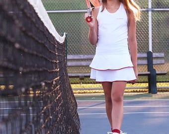 Girls Tennis Dress White RacerBack Johanna | Girls Tennis Clothes | Junior Tennis Apparel