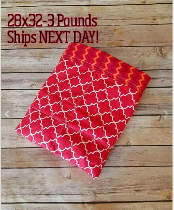 Red Moroccan, Chevron, 3 Pound, WEIGHTED BLANKET, 3 pounds, 28x32 for Autism, Sensory, ADHD, Calming, Anxiety,