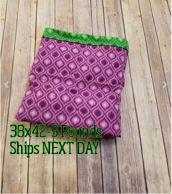 Purple Green Moroccan, 9 Pound, WEIGHTED BLANKET, Ready To Ship, 9 pounds, 38x42 for Autism, Sensory
