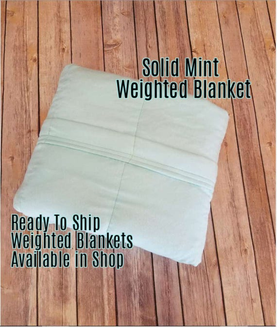 Solid Color, Weighted Blanket, Mint, Up to Twin Size 3 to 15 Pounds.  SPD, Autism, Weighted Blanket.