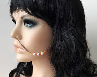 Iridescent Beaded Nose Chain - Nose Chain - Boho Body Jewelry - Ear To Nose Chain - Face Jewelry - Face Chain - Statement Jewelry