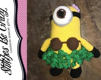 Crochet Hula Stuart Minion - FREE SHIPPING