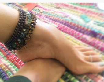 Layered crystal anklet
