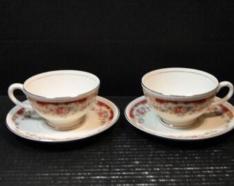 TWO Homer Laughlin Eggshell Georgian Belmont Tea Cup Saucer Sets 2 EXCELLENT
