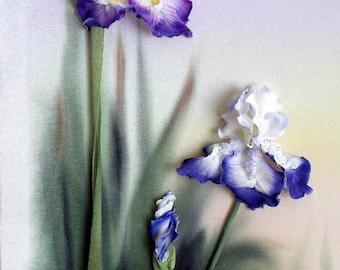 Iris Fleurs-des-lis Satin Embroidery Picture Boquet Home Wall Decor blue violet green floral Iris Fleurs-des-lis 3d Satin Embroidery