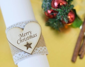 Christmas Napkin Rings Christmas Table Placemats Decorations Centerpiece Wooden Xmas Home Decor Napkin Ring Set of 6