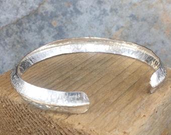 Fine Silver Fused Fold Formed Cuff Bangle - Fine Brass Spine - Hammered Bi-Metal Bangle - Adjustable - Handmade by Adrift Crafts