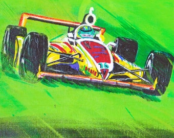Original painting, Acrylic on Canvas, Race car, Sport, Car racing, Home decor, Wall hanging, Outdoors, Green color