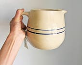 Vintage Marshall Pottery Ceramic Jug/Master Potter E J Humphries/Blue Stripe Pitcher/Primitive Decor/Farmhouse Pitcher/Rustic Country Jug