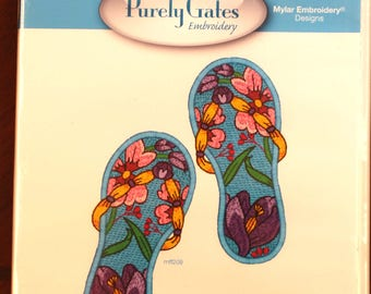 Mylar Flip Flops 2 by Purely Gates Embroidery:  cd 10 designs for 5 x 7 hoop & 1 quilting motif in 5 sizes.