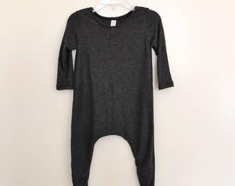 Charcoal Lightweight Rib Knit Harem Romper- Short Sleeve, baby onesie, solid romper