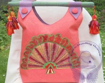 Orange and Purple Medium Top Handle Tassel Fabric Handbag. Decorative Embroidered Fan, Metallic, Button, Wooden Handled, Fashion, Gift.