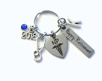 Retirement Gift for NP Keychain, 2018 Nurse Practitioner Keyring, Nursing Retire Key Chain, Present him her women Stethoscope charm woman