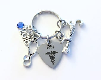 Graduation Gift for RN Keychain, 2018 Registered Nurse Key Chain, Nursing Keyring for her women letter initial custom Scroll stethoscope him