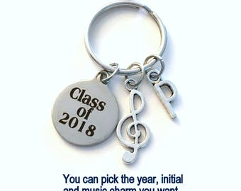 Band Musician Graduation Gift, Class of 2018 2019 2020 Music Degree Grad Keychain for Student Key Chain Initial Teenage Teenager 2016 2017