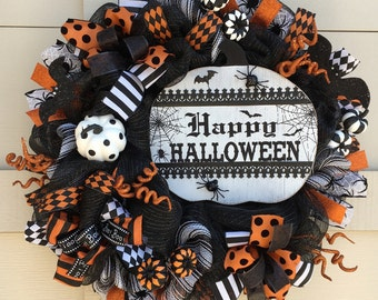 Halloween wreath,Halloween wreaths,Halloween decor,Happy Halloween,Halloween gift,Halloween door decor,Halloween pumpkin,White pumpkin