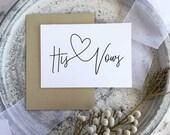 Wedding Vows, Wedding Vow Keepsake, Groom Vows, Wedding Vow Card, Vows, His And Her Vows, Wedding Vows Calligraphy, Wedding Vow Book