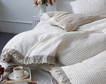 Ruffle linen duvet set, lace bedding set - washed heavy linen duvet set - natural striped linen duvet cover - Twin Queen King bedding w lace