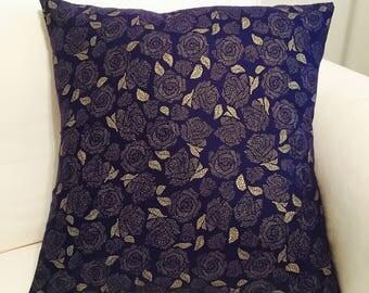 LuckyLeoDecor Blue and Gold 16x16 Handmade Pillow Sham