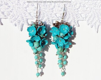 Turquoise Earrings flowers polymer clay Jewelry turquoise stone Turquoise floral cluster earrings Jewelry bridesmaid earrings Gift for her