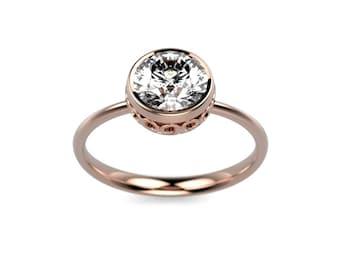 14k Rose Gold White Sapphire Ring Rose Gold Engagement Ring Gold White Sapphire Engagement Ring White Sapphire Diamond Engagement Ring