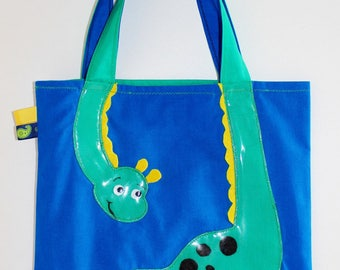 """Lined with cotton tote bag, bag, shopping child, original """"dinosaur"""" theme green. To order!"""