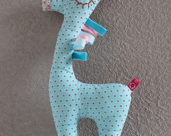 """Doudou """"Lili"""" 40 cm h giraffe while cotton pattern front and back."""