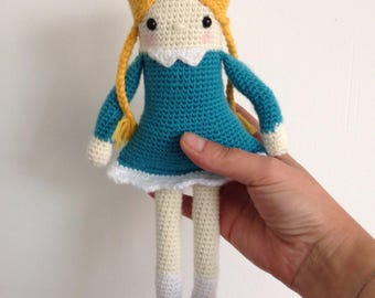 "Little Alice ""My first crochet Doll"" blonde cadeaubde birth or room decoration"