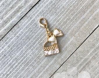 Planner Charm | Couture Planner Charm, Zipper Pull Charm, Gold Notebook Charm, Bow and Purse Charm Backpack Charm Decoration | Bow & Handbag