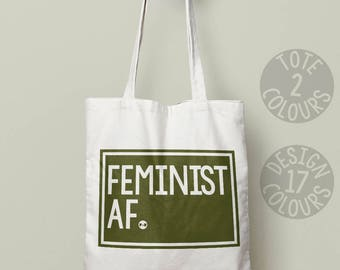 Feminist AF Eco friendly tote bag, personalized gift for girl, gift for her, demonstration, good cause, girl power, love is love, resistance