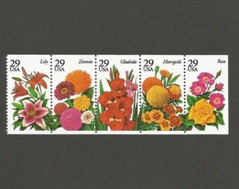 5 Garden Flowers 29 Cent Vintage Postage Stamps, Unused # 2829-2833