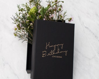 Personalised Black and Gold Birthday Gift Box
