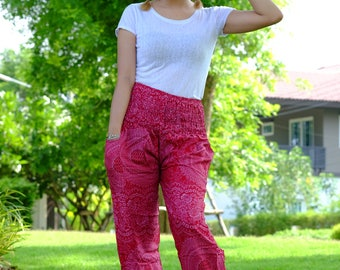 Hobo pants hippie pants harem pants flower pants red