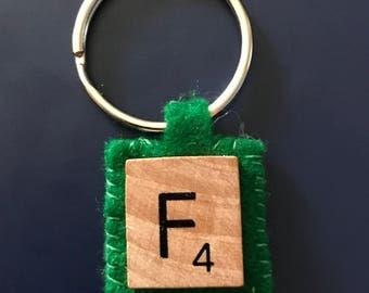 Scrabble Letter key ring with green felt backing