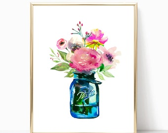 Mason Jar Bouquet, Printable Art, Watercolor Flower, Bright Watercolor, Printable Flowers