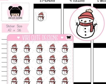 Kawaii Snowman Stickers, snowman Stickers, Hand drawn Stickers, winter Stickers , Kawaii stickers, Planner Stickers, Snow Day stickers | 108