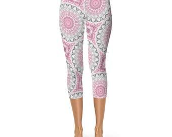 Capris for Women, Yoga Leggings, Pink and Gray Mandala Capris Pants