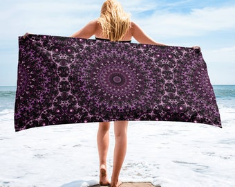 Beach Towel, Lightweight Purple and Pink Mandala Blanket for Beach or Pool, Towel Cover Up