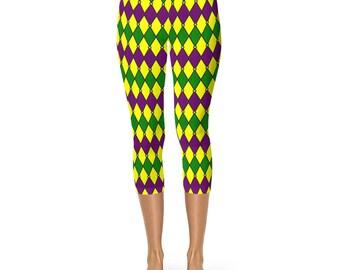 Mardi Gras Capris, Mardi Gras Leggings Costumes, Harlequin Jester Yoga Pants in Purple and Green and Gold
