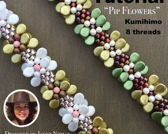 Kumihimo 8 threads pattern tutorial Pip flowers