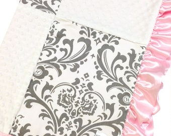 Crib Blanket Gray Damask
