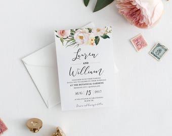 Floral Wedding invitation, wedding invitations, printable invitation, wedding invite, invitation template, wedding invites LORRAINE
