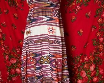 Native print boho vintage maxi dress
