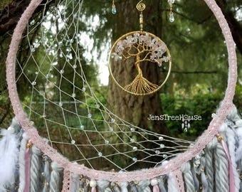 Pink Quartz Tree of Life Dream Catcher/Wall Hanging/Nursery Decor