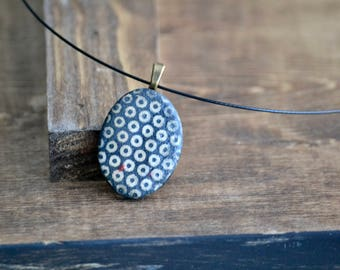 black dots porcelain oval pendant necklace